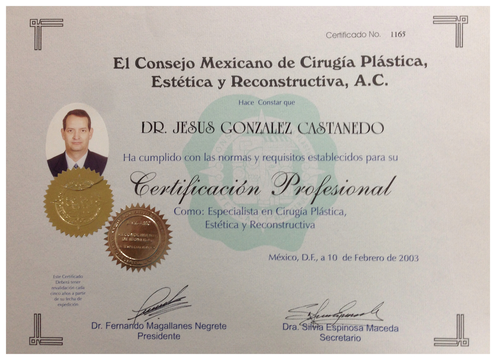 Mexican council of Plastic Surgery Diploma